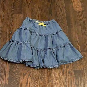 Mini Boden chambray ruffle skirt/size 5-6